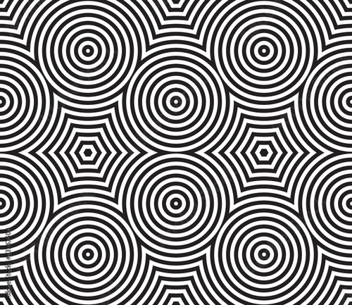 Fototapeta Black and White Psychedelic Circular Textile Pattern.