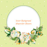 Fototapety Vector round frame of white rose and other.Watercolor wreath.
