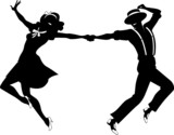 Fototapety Silhouette of a couple dancing