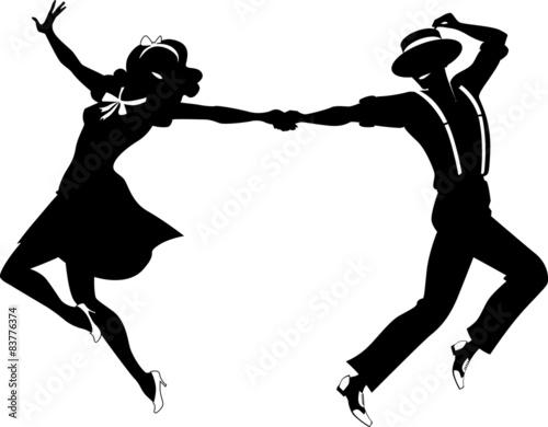 Naklejka Silhouette of a couple dancing