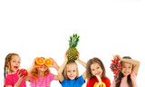 Fototapety Happy children with fruits