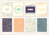 Fototapety Set of vintage cards with flower patterns and ornaments