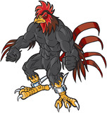 Muscular Cartoon Rooster Mascot Scowling poster