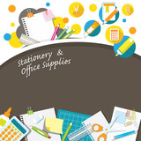 Office Supplies and Stationery with Blank Paper Background