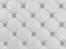 Close-up View of White Leather Upholstery Background