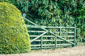 A wooden gate and hedge entrance of a cottage in rural England