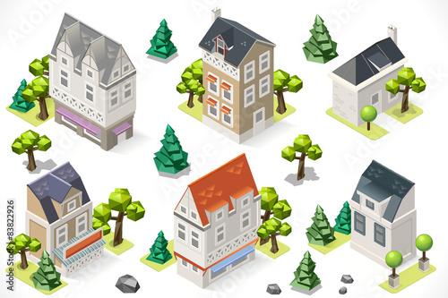 Tuinposter Op straat Europe Building Set Tint Cartoon Isometric 3d