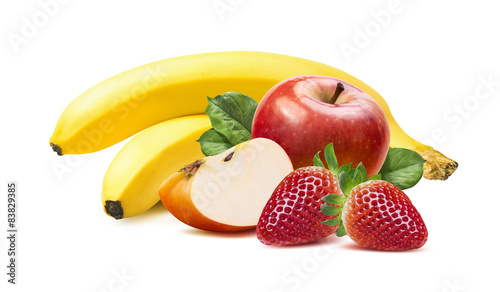 Banana, apples and strawberry isolated on white background