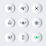 Drones, Tricopter, Multicopter, Quadrocopter round modern icons poster