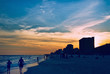 Sunset Destin Florida USA With People Walking on the Beach