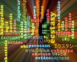 Ecstasy multilanguage wordcloud background concept glowing poster