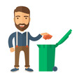 Vinilo - Man throwing paper in a garbage bin