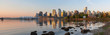Vancouver BC Skyline from Stanley Park at Sunrise Panorama
