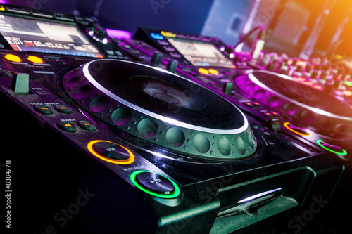 Poster DJ CD player and mixer