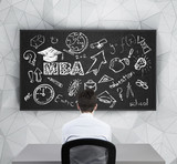 businessman thinks about getting MBA degree. poster