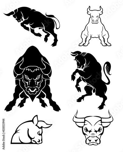 Set of black silhouette on bull