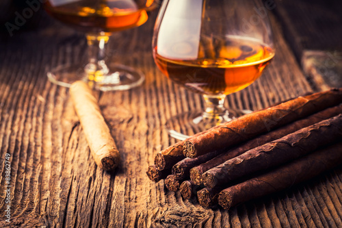 quality cigars and cognac Poster