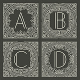 Set of vector floral and geometric monogram logos with capital