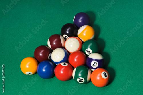 Staande foto pool balls on snooker table