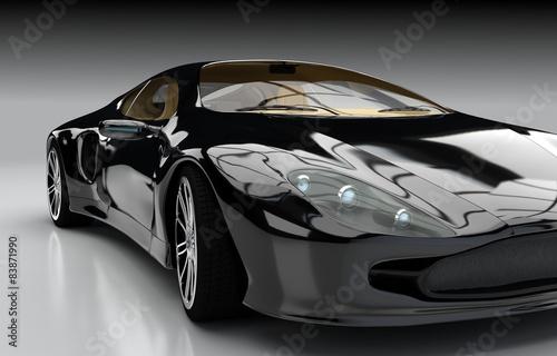 Detailansicht schwarzer Sportwagen - 83871990