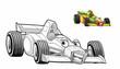 Cartoon car - racing vehicle - coloring page