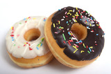 Fototapeta delicious tempting sugar donuts in toppings  sweet addiction