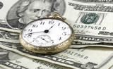 Time and Money concept image with watch and cash