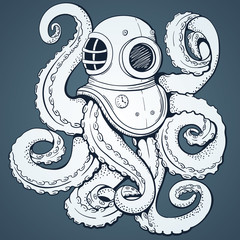 Octopus. Vector background