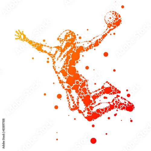 Fototapeta illustration of abstract basketball player in jump