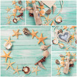 Collage from photos of marine items on wooden background.
