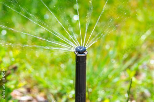 Irrigation equipment watering green grass - 83929756
