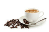 Fototapety Cup of coffee with coffee beans isolated on white