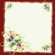 Greeting floral card with abstract spring flowers and wavy frame