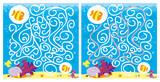 labirynt z rybkami -scena pod wodą z rafą, piaskiem, bąbelkami