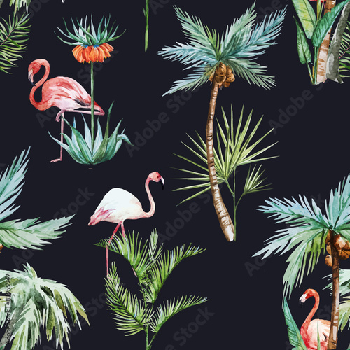Watercolor palm pattern - 83955942