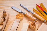 composition od joinery tools chisels woodworkers plane wooden me poster
