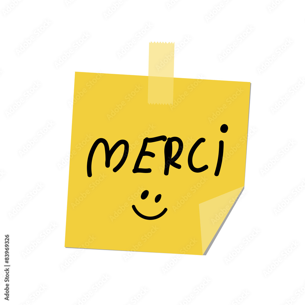 Merci Paint On Post It Sticker By Stickersticker