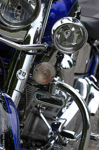 Blue custom motorcycle chrome details