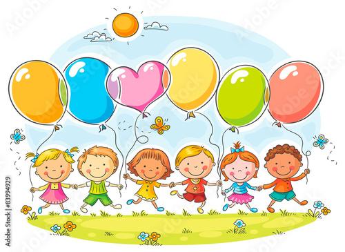 fototapeta na ścianę Dzieci z balonów
