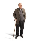 Elderly walking with stick