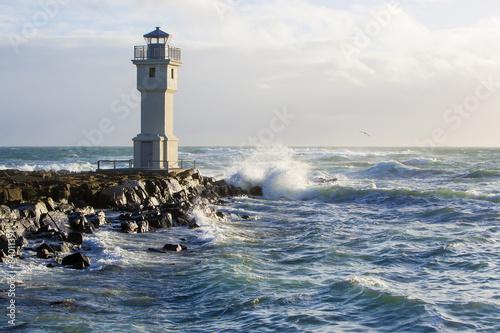 Lighthouse at the port of Akranes, Iceland - 84011391