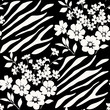Seamless floral pattern with zebra stripes
