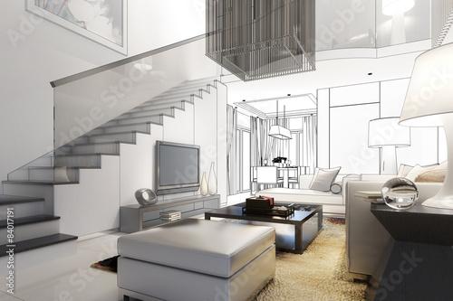 Gamesageddon modern villa interior vision lizenzfreie fotos