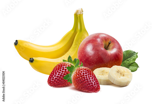 Banana, apples and strawberry 2 isolated on white background