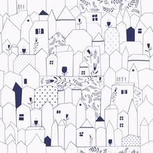 Seamless pattern. Figure villes de style vintage.