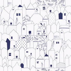 Seamless pattern. Figure cities in vintage style.