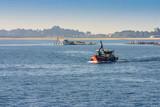 Mussel aquaculture boat poster