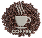 coffee shop sign, on Coffee bean background - 84047592