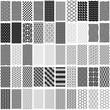Materiał do szycia Set of black and white geometric seamless pattern.