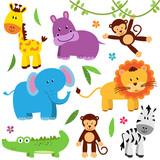 Fototapety Cute Vector Set of Zoo Animals